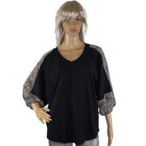 Mittoshop Black V-neck Top w/ Gray Floral Sleeves